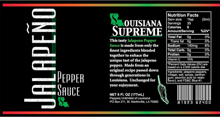 Louisiana Supreme Hot Sauces St. Martinville, LA.